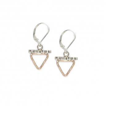 Sterling Silver & Gold-Filled Triangle Bar Earrings