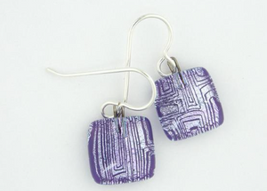 Glass Charm Drop Earring - Lined Squares Purple & Silver