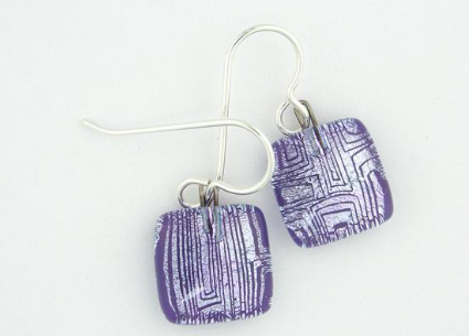 MOMO Small Drop Earring - Lined Squares Purple & Silver
