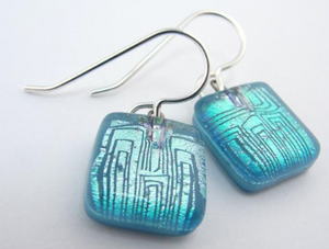 MOMO Small Drop Earring - Lined Squares Blue & Silver