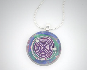 Glass Charm  Mesmer Small Medallion Necklace