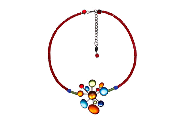 Frosted Glass Rainbow Necklace