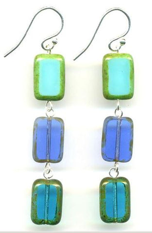 3 Tile Earrings- Ocean