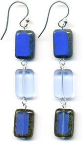 3 Tile Earrings- True Blue