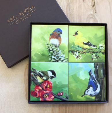Art by Alyssa Coaster Gift Set - Birds & Blooms