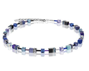 Glass Cube Purple and Turquoise GeoCube Necklace