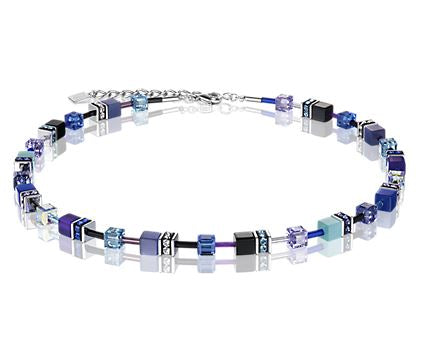 Coeur de Lion Purple and Blue GeoCube Necklace