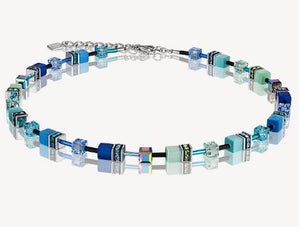 Coeur de Lion Blue and Green GeoCube Necklace