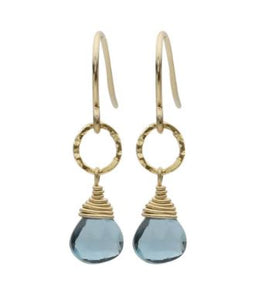 Sara Danielle Small London Blue Topaz Drop Earrings
