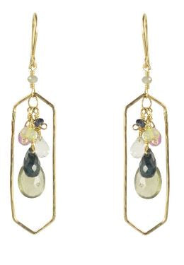 Gemstone Geode Frame Earrings