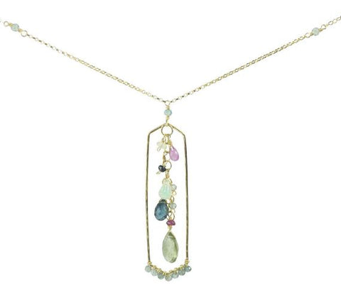 Gemstone Geode Frame Necklace