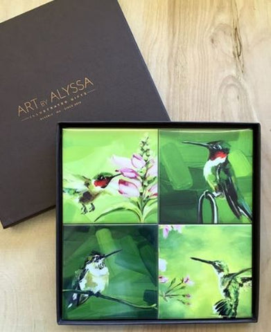 Art by Alyssa Coaster Gift Set - Hummingbirds