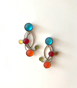 Glass Frost Earrings - Rainbow Curl