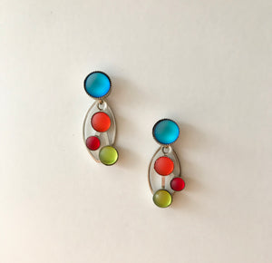 Glass Frost Earrings - Rainbow Drop