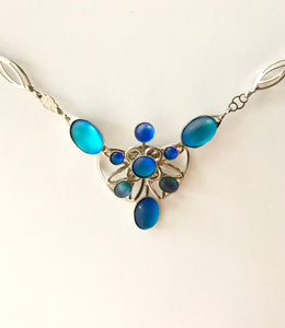 Glass Frost Necklace - Blue Heart