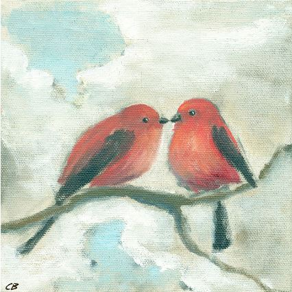 "Print - Lovebirds on Branch 8""x8"""