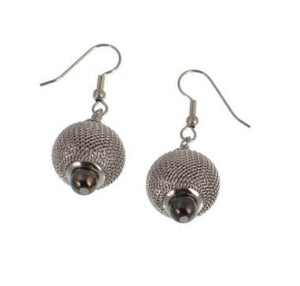 Mixed Metal Mesh Bead Drop Earrings