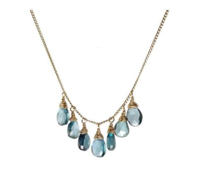 Gemstone London Blue Topaz Briolette Necklace