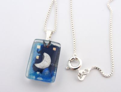 Glass Charm Blue Moon