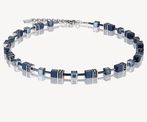 Glass Cube Navy GeoCube Necklace