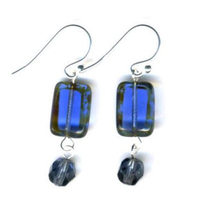Glass Czech Tile Crystal Dangle Earrings - Sapphire Blue