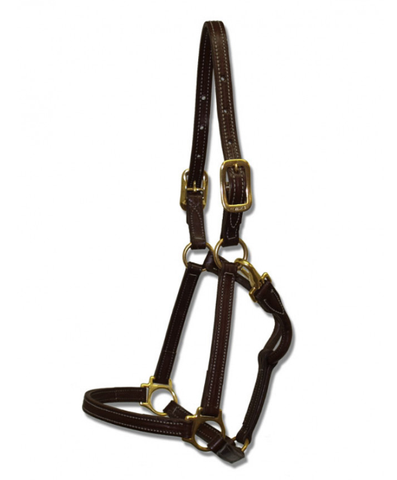 Leather Halter with Snap 3/4""