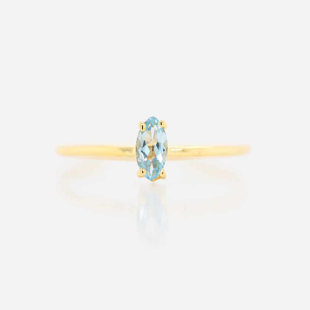 Anillo 'Orbit' Aquamarina Marquise