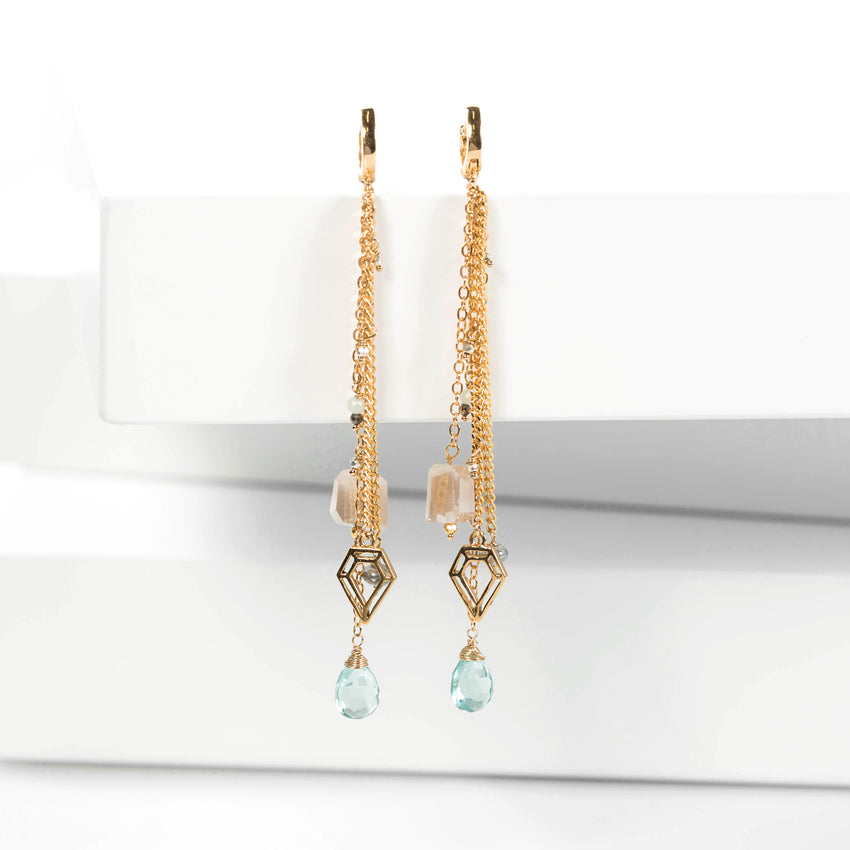 Aretes 'Diamond' Aquamarina