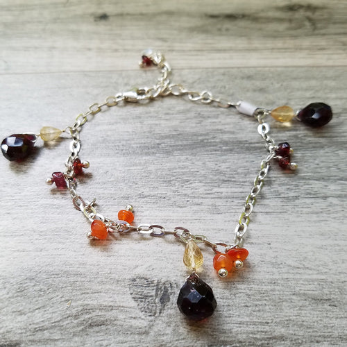 Delicate Garnet and Citrine Charms Bracelet