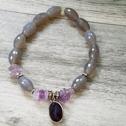 Unique Gray Agate Bracelet with Amethyst charm