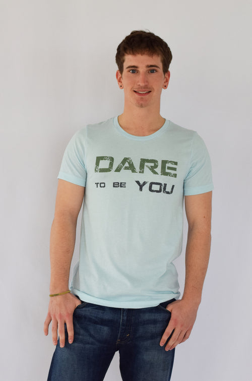 """Dare To Be You"" Icy Blue Men's Tee"