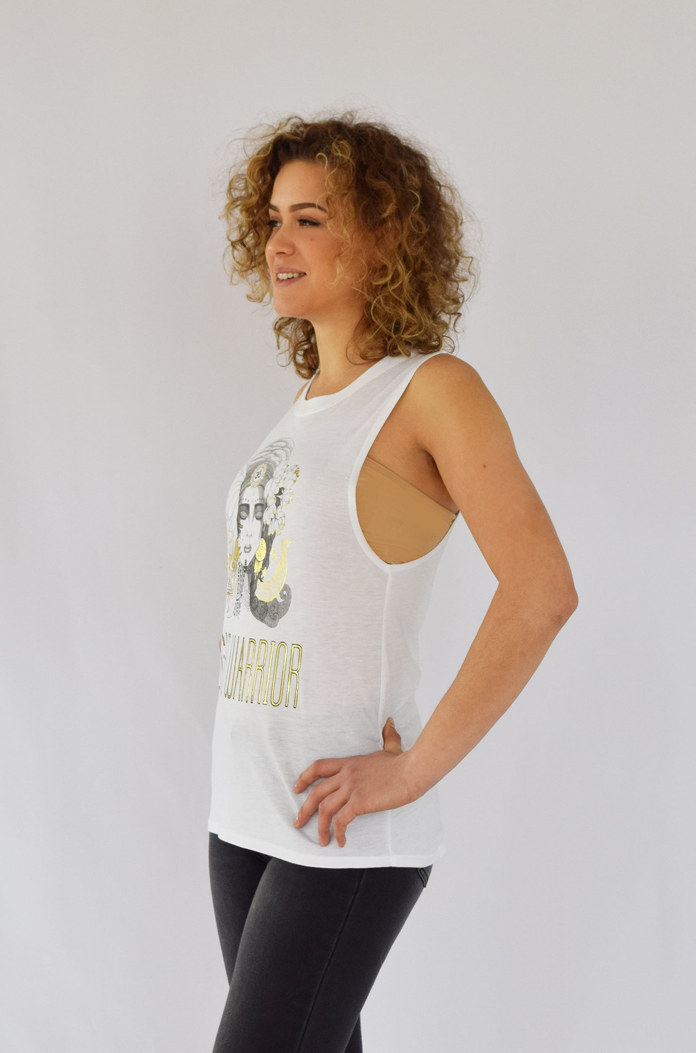 "Organic ""Light Warrior"" Muscle Tank with Gold Accents"