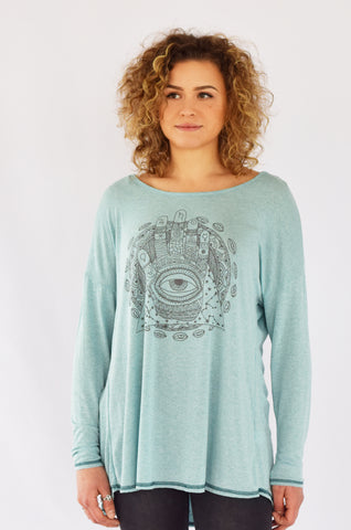 """Trust the Universe"" Blue Thermal top"