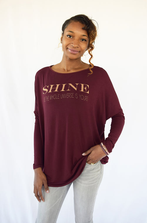 """SHINE"" Soft Rich Wine Bamboo Top"