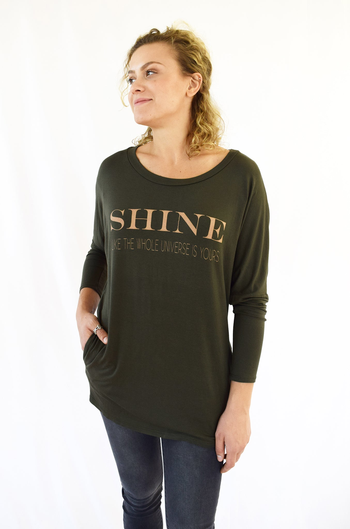 """SHINE""- Delicious Olive Soft Rayon Pocket Top"