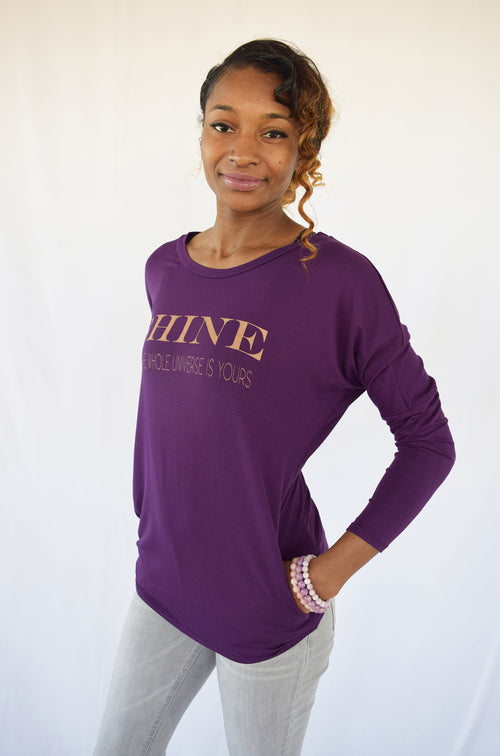 """SHINE""-  Yummy Purple Gentle Rayon Pocket Top"