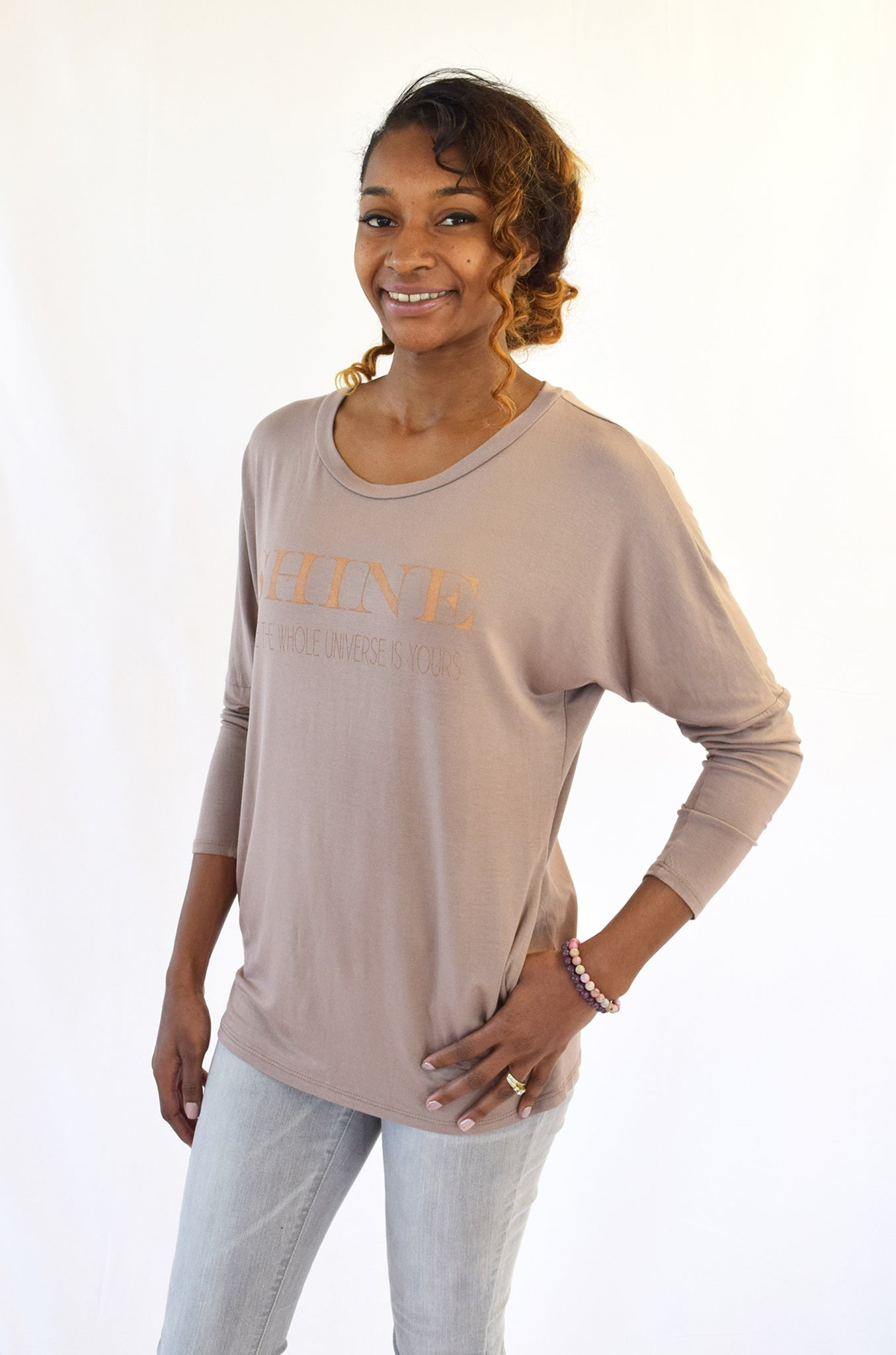 """SHINE""-  Creamy Mocha Soft Rayon Pocket Top"