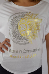 "Organic ""Sun & Moon"" Dolman Tee with gold accents"