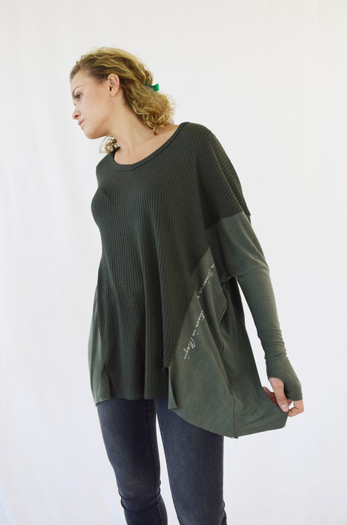 """Trust the Universe"" Olive Thermal top"