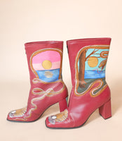 Sunrise Sunset Red Leather Boots