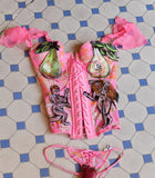 SALE Forbidden Fruit Corset & Matching Thong Set