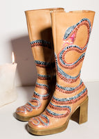 Hissing Snake Knee High Platfom Boots