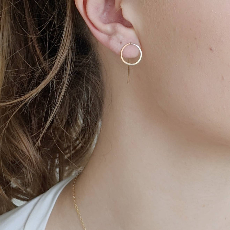 Circle Threader Post Earrings