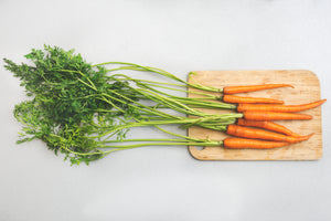fresh picked raw carrots