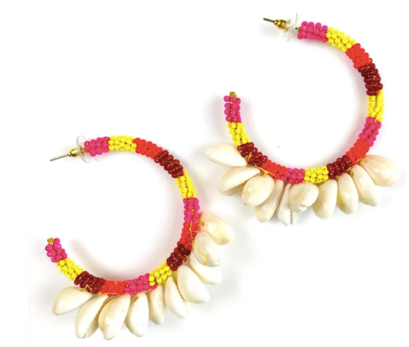 MULTI COLOR BEADED COWRIE SHELL EARRINGS