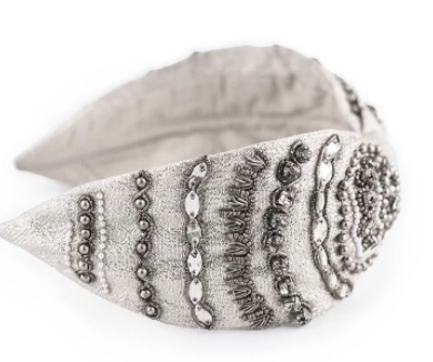 KALEIGH SILVER CRYSTAL ENCRUSTED HEADBAND