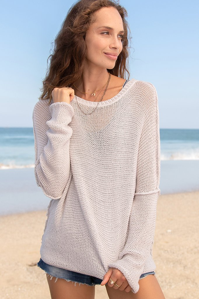 CHARLOTTE CREW NECK SWEATER - CHAMPAGNE BLUSH