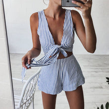 Two Piece Set - Sexy Blue Striped Jumpsuit