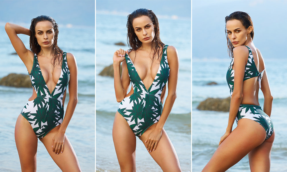 Sexy Green One Piece Swimwear with Push up Padding