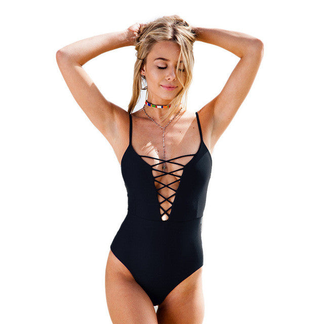 Sexy Deep V-Neck One Piece Swimsuit - Black/Blue/Red